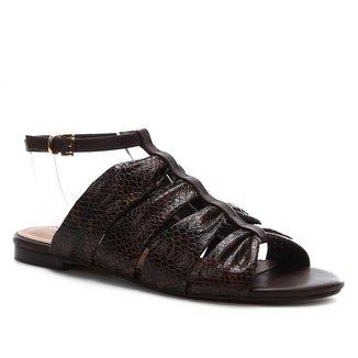 Rasteira Couro Shoestock Cobra Drapeado