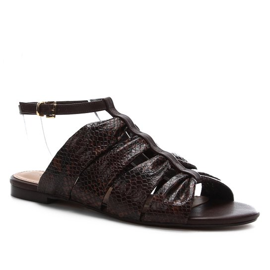 Rasteira Couro Shoestock Cobra Drapeado - Marrom