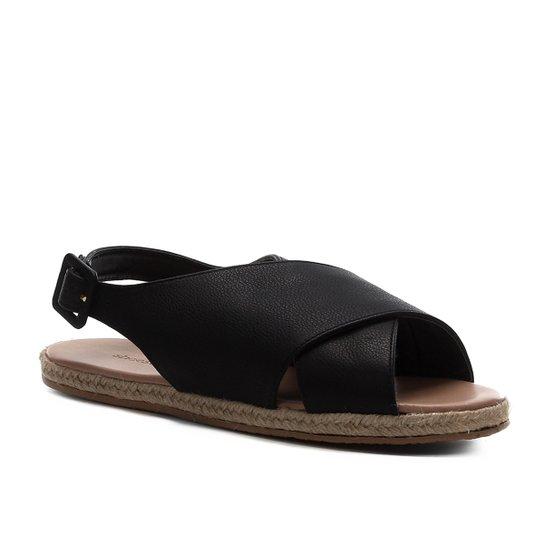 Rasteira Couro Shoestock Comfy Crossed - Preto