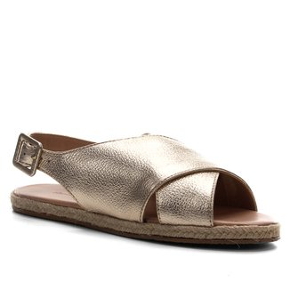 Rasteira Couro Shoestock Comfy Crossed