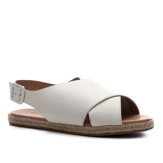 Rasteira Couro Shoestock Comfy Crossed - Branco