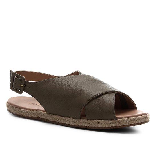 Rasteira Couro Shoestock Comfy Crossed - Verde