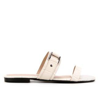 Rasteira Couro Shoestock Croco Fivela