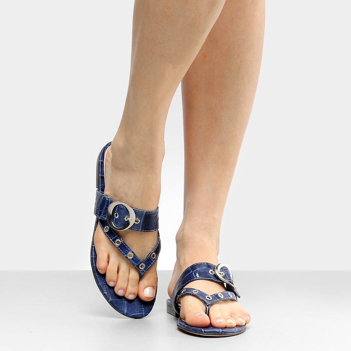 Azul Shoestock Shoestock Croco Couro Rasteira Fivela Croco Fivela Rasteira Couro HzwqdH