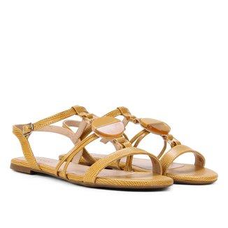 Rasteira Couro Shoestock Detalhe Acrílico