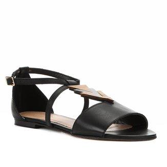 Rasteira Couro Shoestock Detalhe Madeira