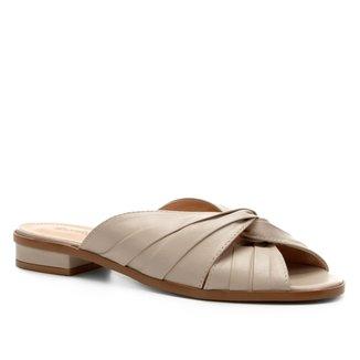 Rasteira Couro Shoestock Drapeada