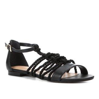 Rasteira Couro Shoestock Flat Cordão