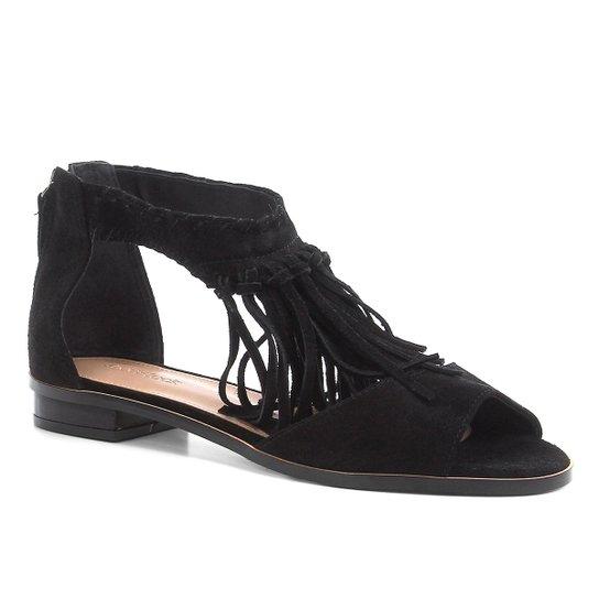 Rasteira Couro Shoestock Franjas - Preto