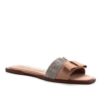 Rasteira Couro Shoestock Laço Strass