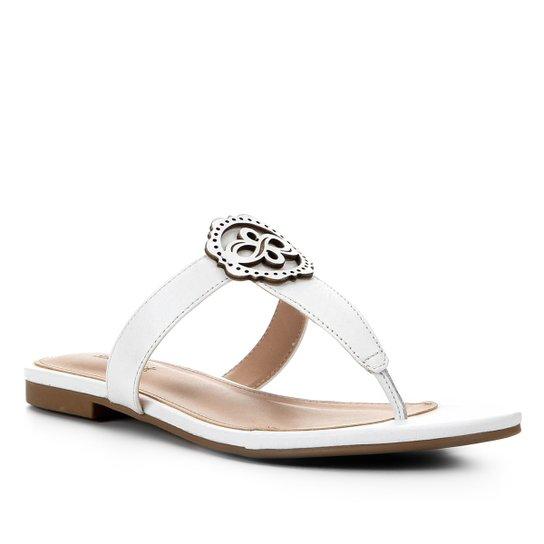 Rasteira Couro Shoestock Laser - Off White