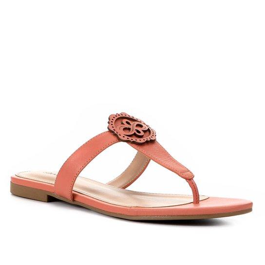 Rasteira Couro Shoestock Laser - Coral