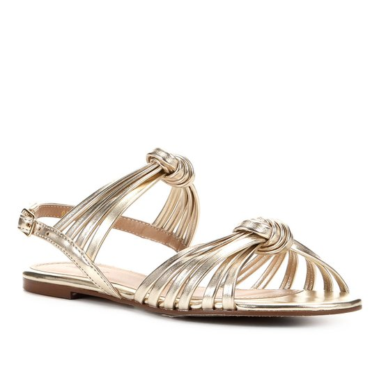 Rasteira Couro Shoestock Nó Tiras - Ouro