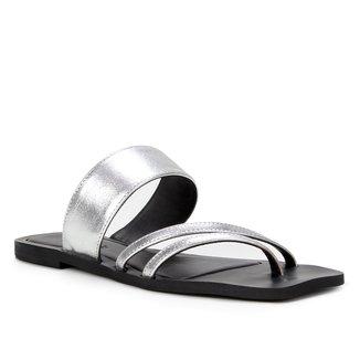 Rasteira Couro Shoestock Palmilha Quadrada Cristal