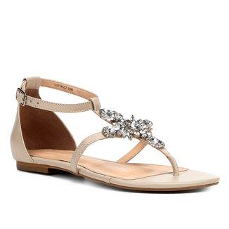 Rasteira Couro Shoestock Pedraria Cristal