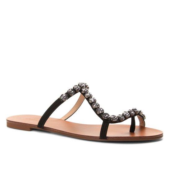 Rasteira Couro Shoestock Slide Cristal - Preto