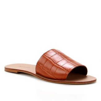 Rasteira Couro Shoestock Slide Croco