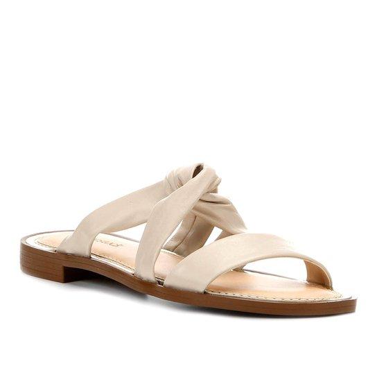Rasteira Couro Shoestock Slide Drapeado - Off White
