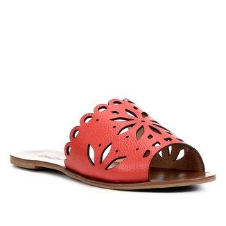 Rasteira Couro Shoestock Slide Flor
