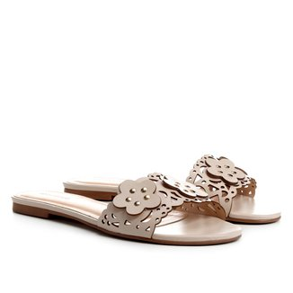 Rasteira Couro Shoestock Slide Flores