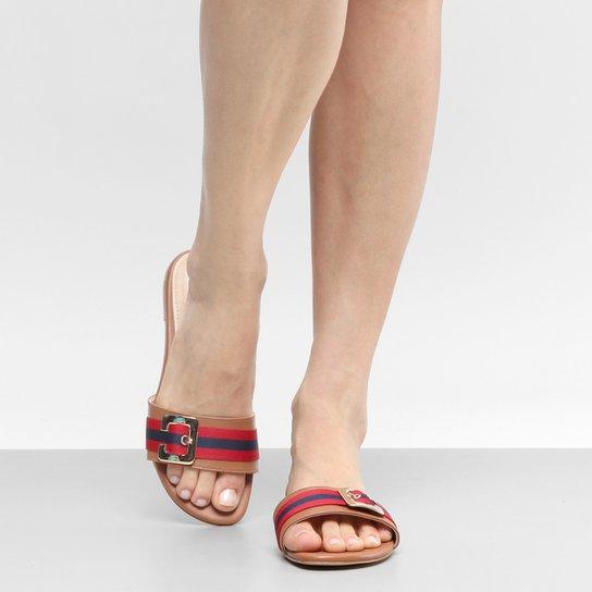 Rasteira Couro Shoestock Slide Gorgurão - Caramelo