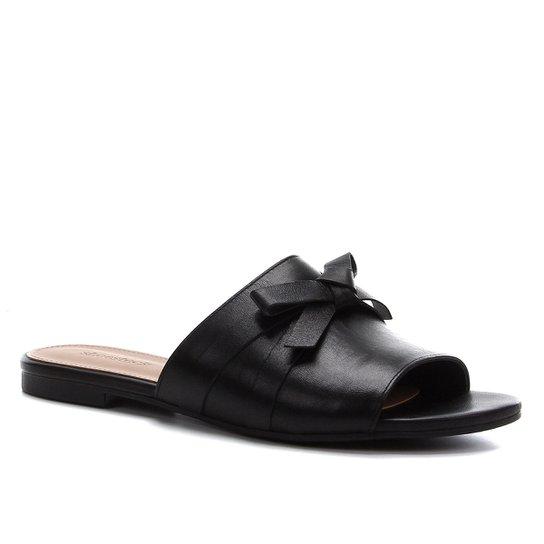 Rasteira Couro Shoestock Slide Laço - Preto