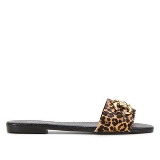 Rasteira Couro Shoestock Slide Leopardo Bridão