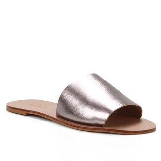 Rasteira Couro Shoestock Slide Metalizada
