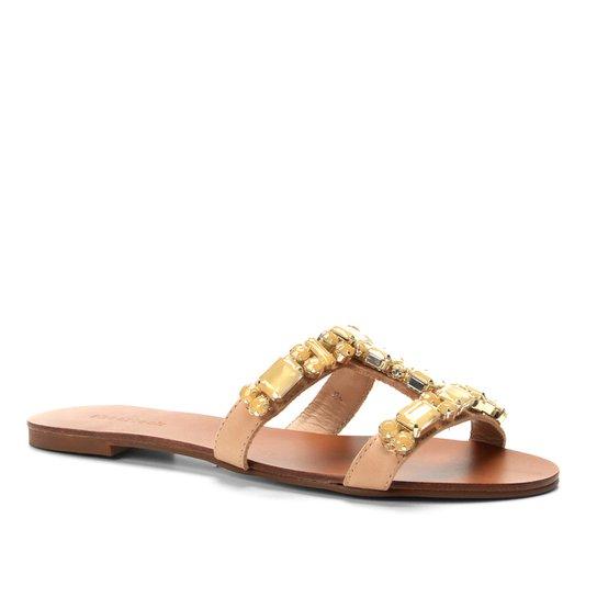 Rasteira Couro Shoestock Slide Pedraria - Bege