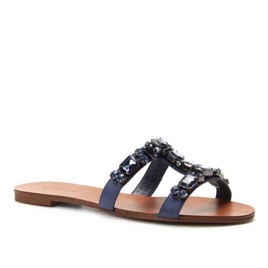 Rasteira Couro Shoestock Slide Pedraria - Azul