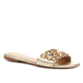 Rasteira Couro Shoestock Slide Pedraria