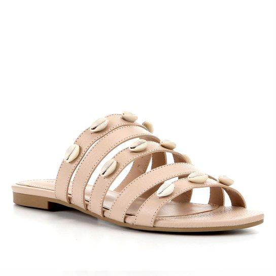 Rasteira Couro Shoestock Slide Tiras Búzios Feminina - Nude
