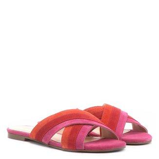 Rasteira Couro Shoestock Slide Tiras Coloridas
