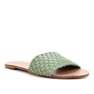 Rasteira Couro Shoestock Slide Trançada