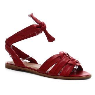 Rasteira Couro Shoestock Tiras Amarração