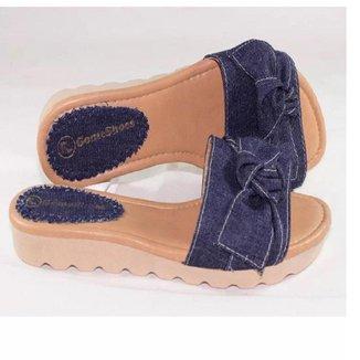 Rasteira Feminina Jeans Confortável Moderna Dia a Dia