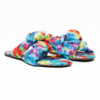 Rasteira Flat - Micaela, Tie Dye Multicolor Feminina