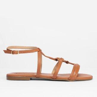 Rasteira Gladiadora Shoestock Couro Argola