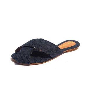 Rasteira Gomes Shoes Feminina Jeans Tiras Cruzadas Verão
