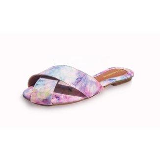 Rasteira Gomes Shoes Feminina Tie Dye Tiras Leve Verão