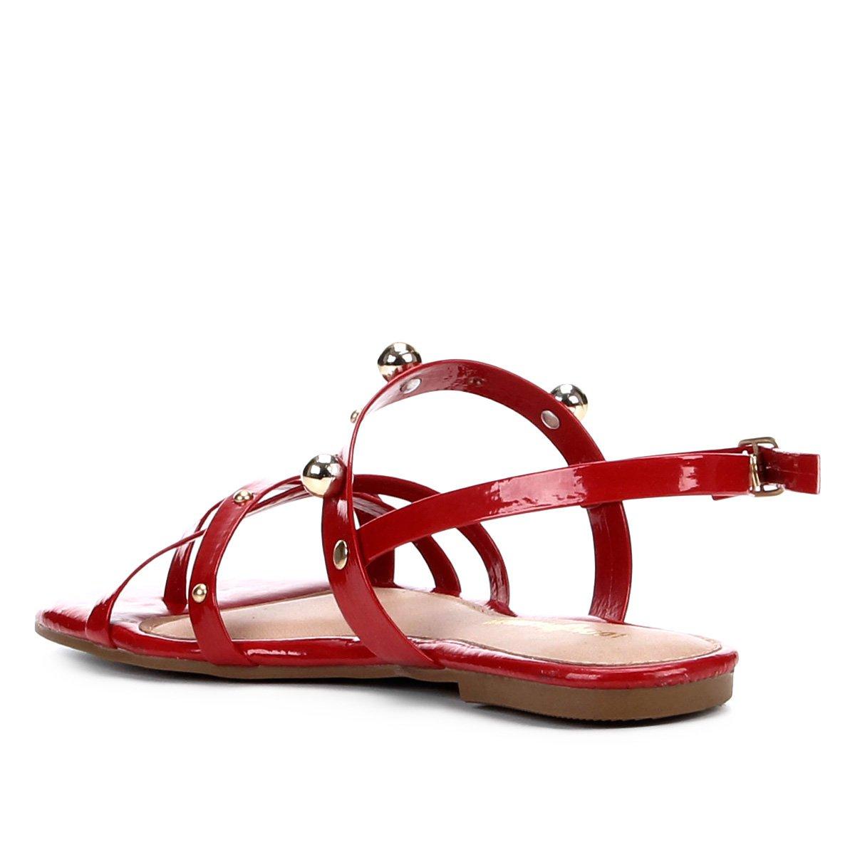 Rasteira Look Tiras Bolas Look Rasteira Multi Vermelho Fashion dzwrwqX
