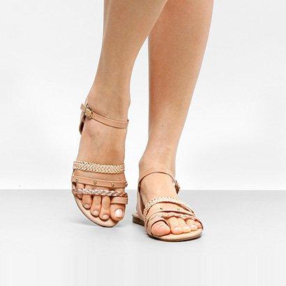Rasteira Look Fashion Multi Tiras Cravinhos-Feminino
