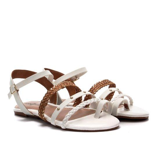 Rasteira Look Fashion Multi Tiras Cravinhos - Branco