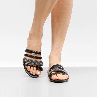 Rasteira Look Fashion Multi Tiras e Strass