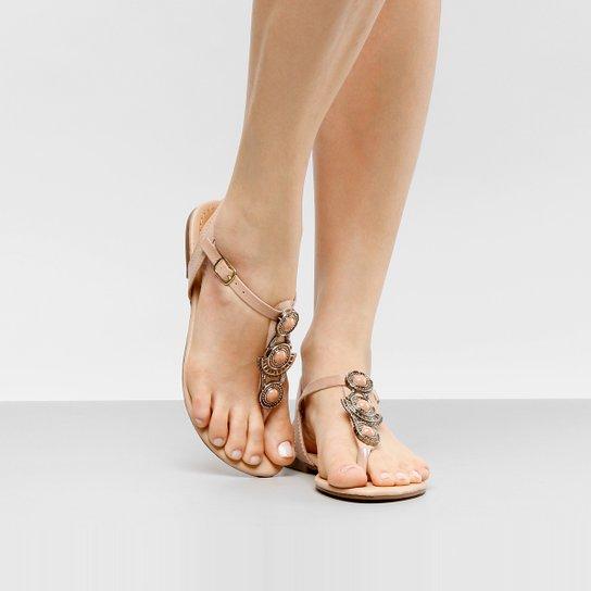 Rasteira Look Fashion Pedraria - Nude