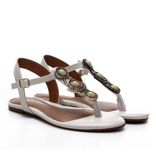 Rasteira Look Fashion Pedraria - Branco