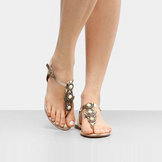 Rasteira Look Fashion Pedraria - Dourado