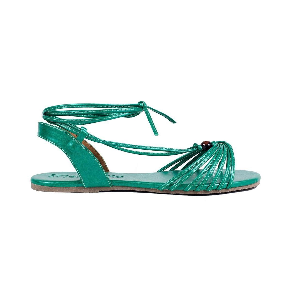Rasteira Mercedita Shoes Amarração Metalizada Leve Feminina - Verde