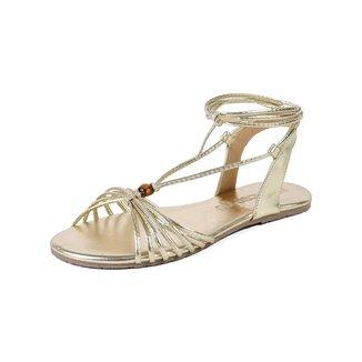 Rasteira Mercedita Shoes Amarração Metalizada Leve Feminina