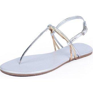 Rasteira Mercedita Shoes Metalizada Verão Macia Feminina